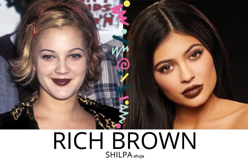 90s-retro-makeup-brown-toned-lipsticks-dark-brown-kylie-jenner-drew-barrymore