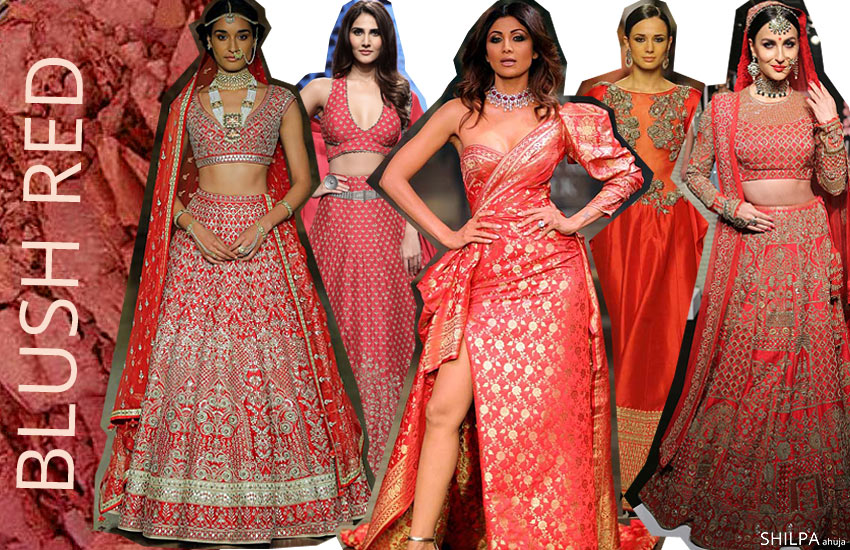 Lehenga Colors in fashion trends-style-Blush-Red-designs-indian-lehengas-winter-2017-18