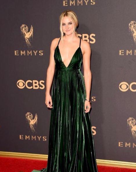Shailene-woodley-ralph-lauren-green-gown-emmys-2017-plunging-neckline