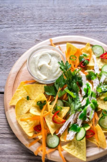 baked-corn-nachos-with-yogurt-dips-yummy-tasty-snacks