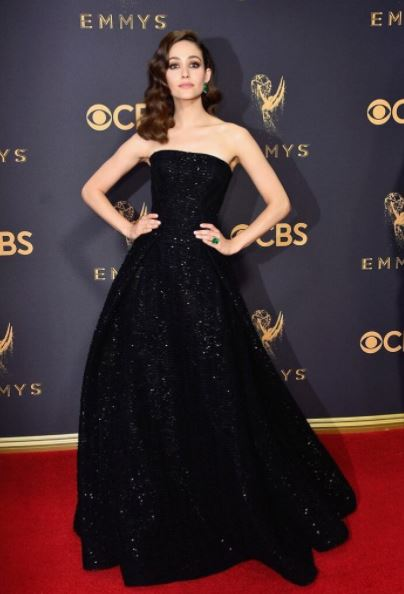 emmy-rossum-zac-posen-strapless-metallic-gown