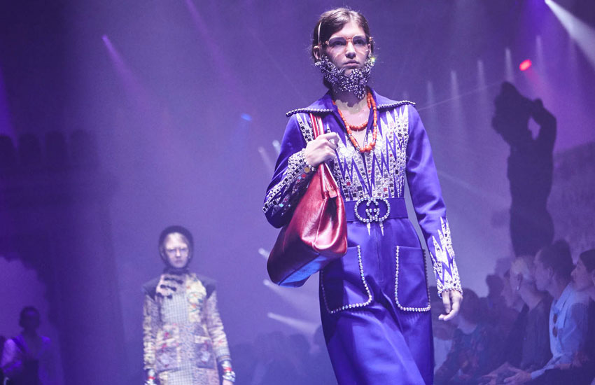 Gucci Spring Summer 2018 gucci-spring-summer-2018-ss18-rtw-collection-purple-metallic-outfit-mfw