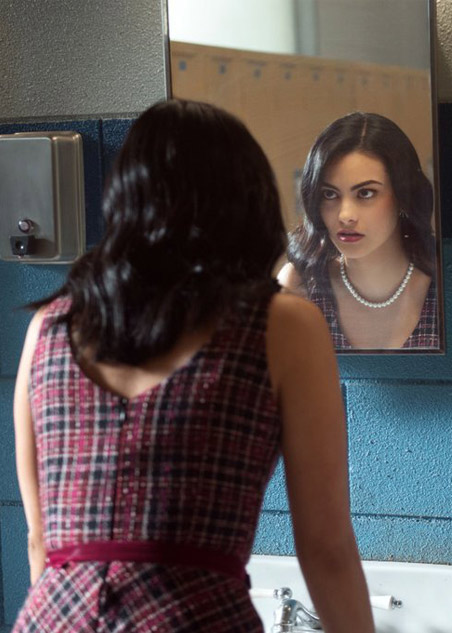 best-veronica-lodge-riverdale-fashion-oufits (18)-tweed-purple-dress-pearl-necklace