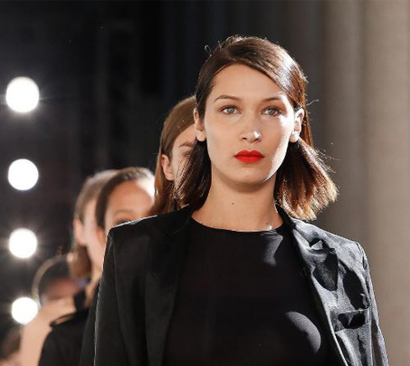 fashion week makeup hair-beauty-looks-bright-ed-lip-bella-hadid-max-mara