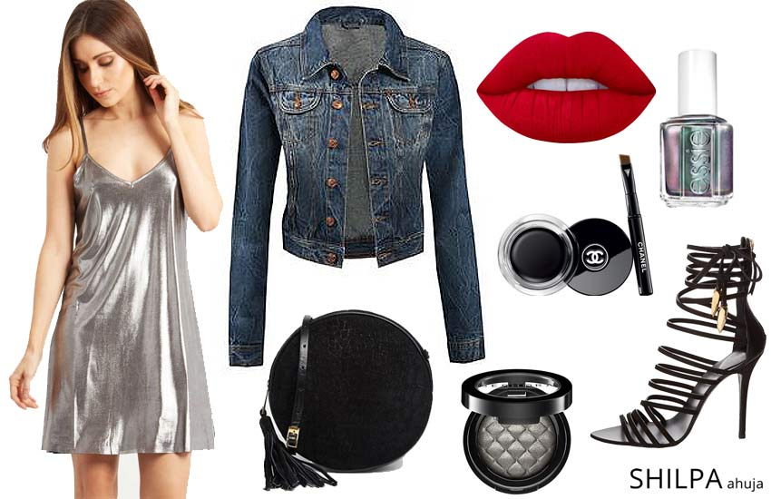 slip-dress-style-party-date-night-look-metallic-silver-short-slip-dress-denim-jacket
