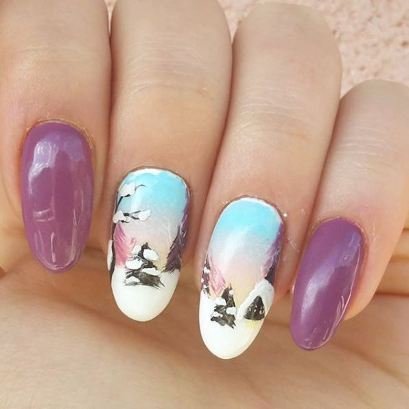 best-snow-xmas-glossy-nail-polish-art-designs-pine-trees-winter-2017-purple