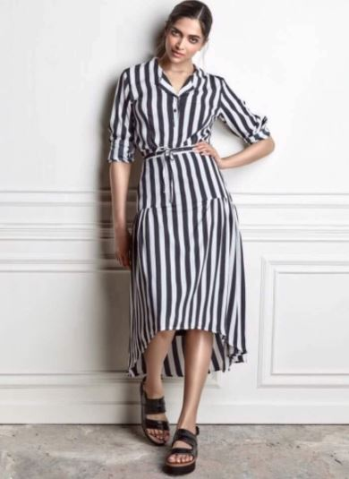 Bollywood Actresses' Instagram deepika-padukone-high-low-dress-striped-instagram-bollywood-fashion