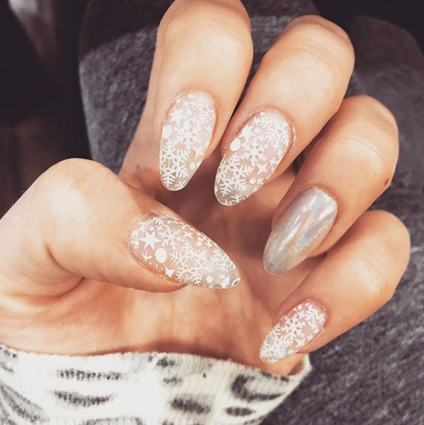 latest-beautiful-party-nude-snow-nail-art-designs-holographic-snowflake