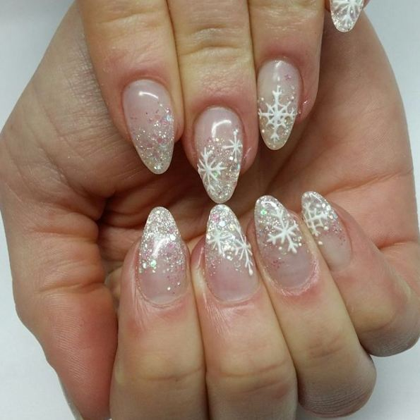 latest-shimmery-glitter-snow-nail-art-wedding-designs-french-manicure