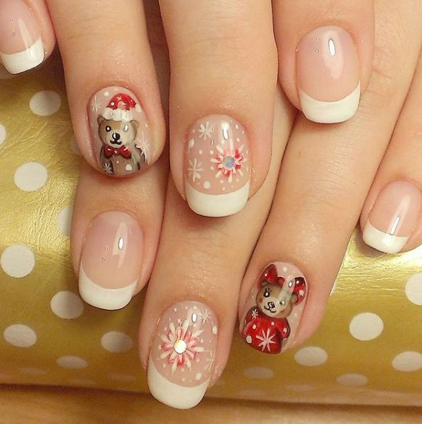 latest-snow-nail-designs-teddy-bears-snowflake-french-mani-nail-art