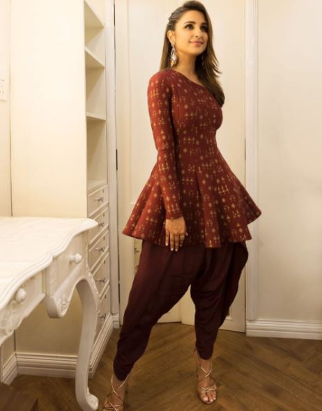 parineeti-chopra-peplum-top-dhoti-pants-bollywood-instagram-fashion