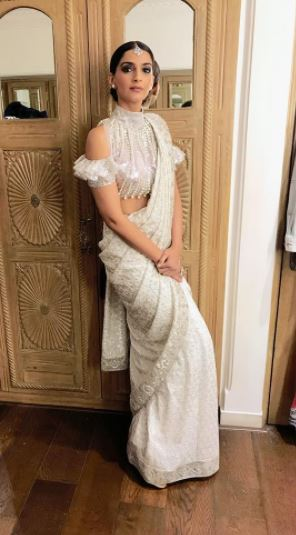 sonam-kapoor-embellished-cold-shoulder-blouse-indo-western-saree-bollywood