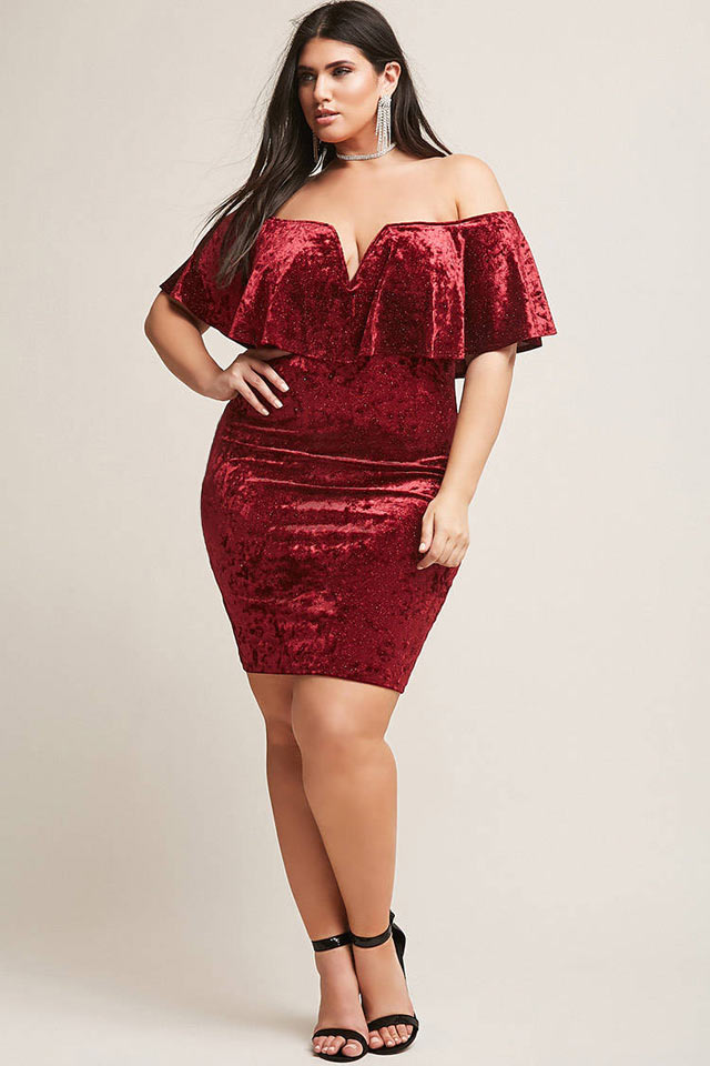 top-plus-size-clothing-girls-college-wear-outfit-looks-ideas-velvet-body-con-dress