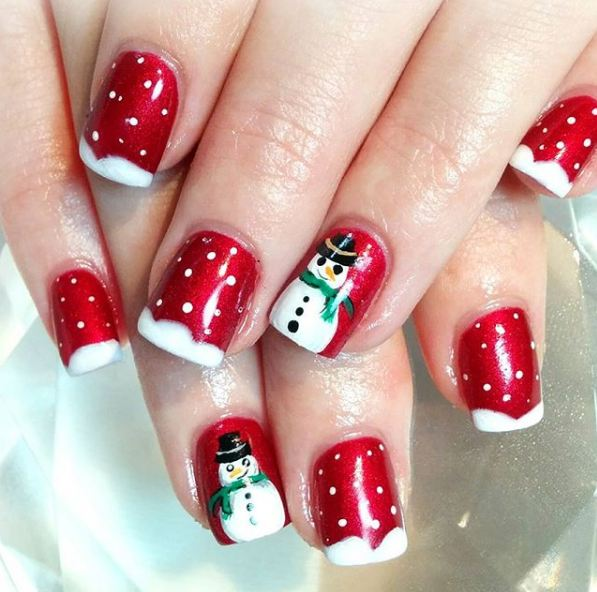 top-popular-red-snowman-winter-snow-nail-art-designs-ideas-tips-trends