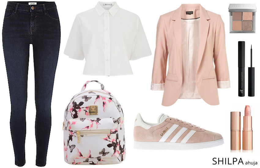 trendy college outfit ideas sporty-casual-formal-blazer-sneakers-stylish-college-look