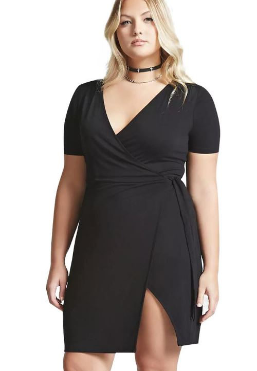 trendy-plus-size-college-fashion-black looks-wrap-fit-and-flare-dress