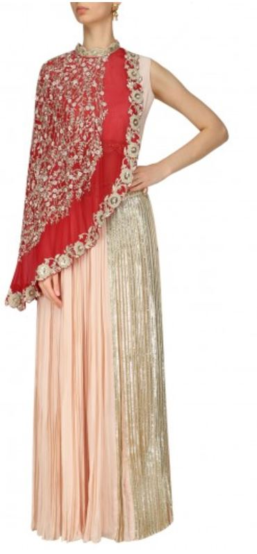 what-to-wear-best-friends-indian-wedding-outfit-ideas-skirt-asymmetrical-cape