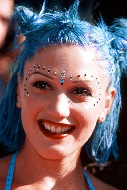 90s-fashion-icon-gwen-stefani-rhinestone-makeup-look-celeb-style