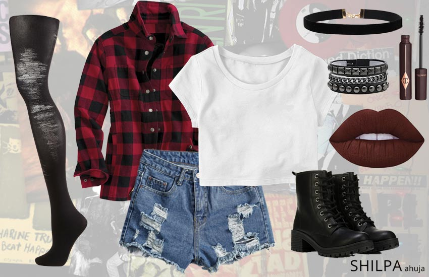 90s-grunge-fashion-outfit-ideas-flannel-ripped-tights-look