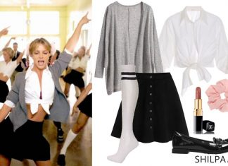 90s-theme-party-outfit-ideas-decade-day-britney-spears-baby-one-more-time-costume