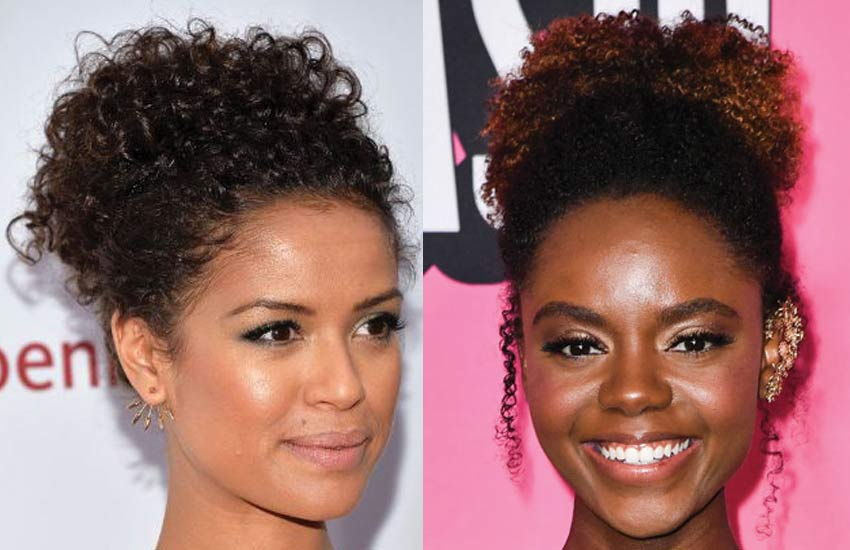ashleigh-murray-curly-bun-hairstyles-long-hair-messy-easy-quick-hairdo