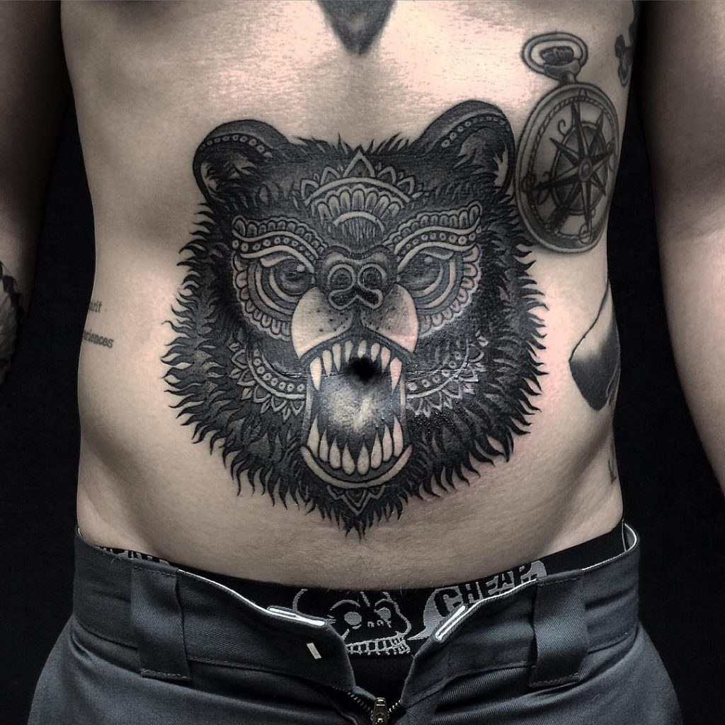bear-stomach-tattoo-for-men-guys-latest-trends