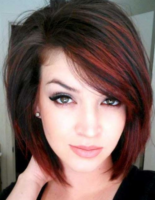 black-hair-with-red-highlights-balayage-short-hair