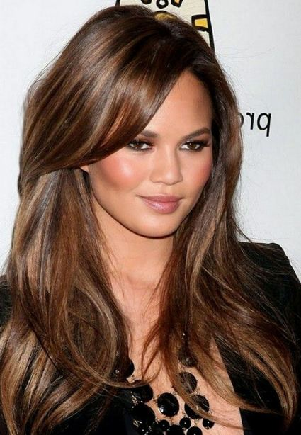 chrissy-teigen-brunette-lowlights-highlights-dark-brown-hair-color-ideas