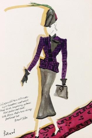 christian-berard-illustration-schiaparelli-haute-couture-rigid-shoulders-brief-skirt-feather-hat