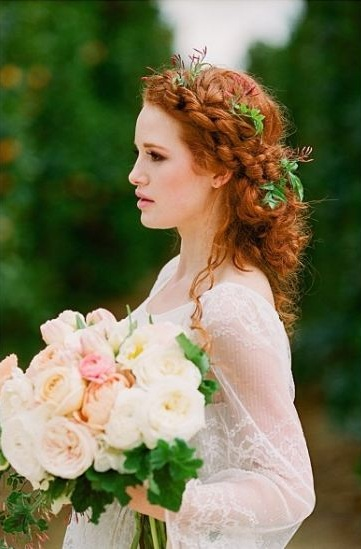curly-hair-bridal-wedding-hairstyles (2)-twisted-braid-updo-flowers-leaves-madelaine-petsch