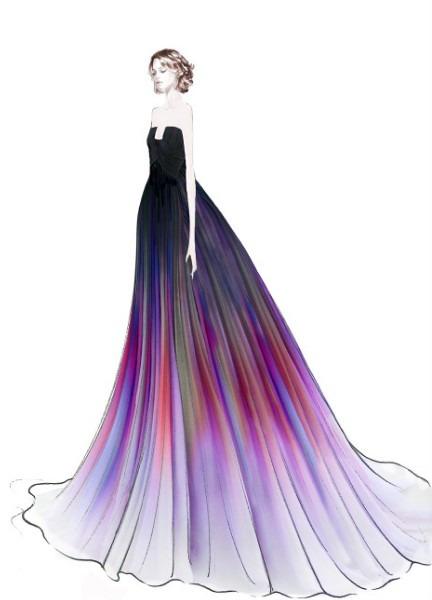 designer-elie-saab-illustration-strapless-colorfull-ball-gown