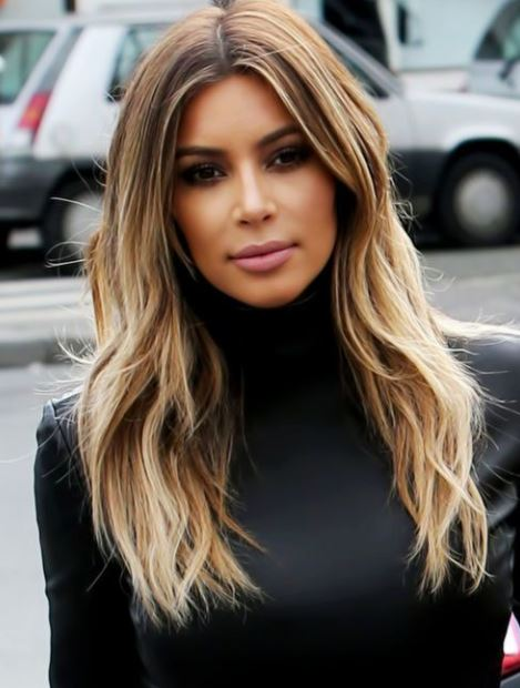 kim kardashian-blonde-highlights-colored-hair-ash