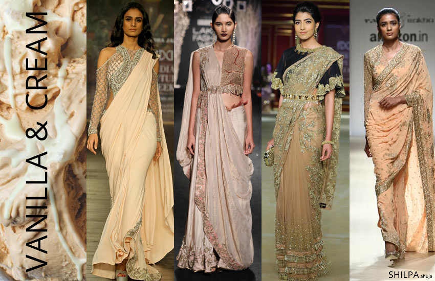 latest-saree-color-shades-trends-fashion-vanilla-cream-style-spring-summer-2018