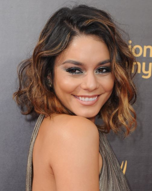 vanessa hudgens-black-hair-balayage-caramel-highlights-short-hair