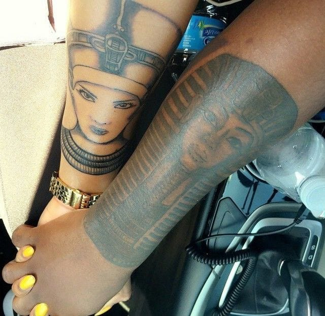 egyptian-tattoos-couple-anciet-vintage-tattoo-styles-queen-tattoos