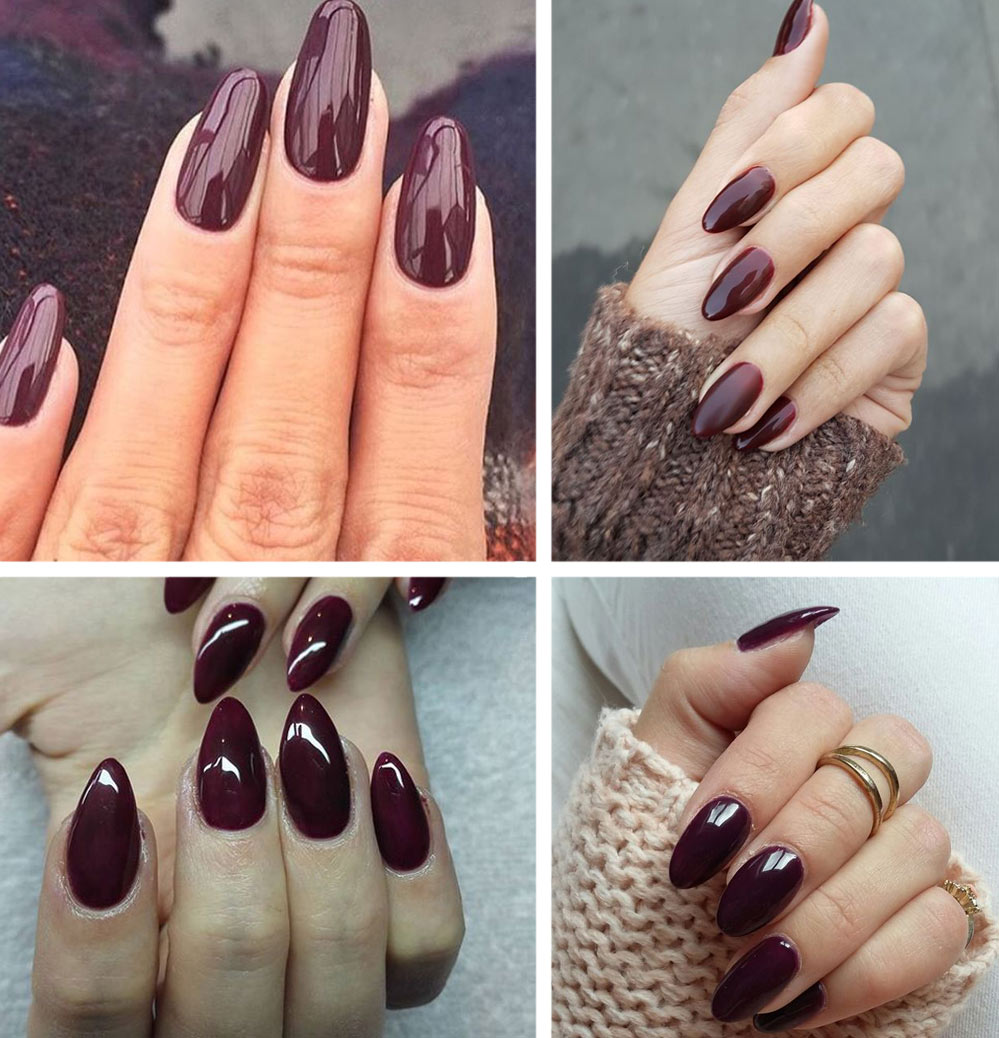 Burgundy Almond Nails