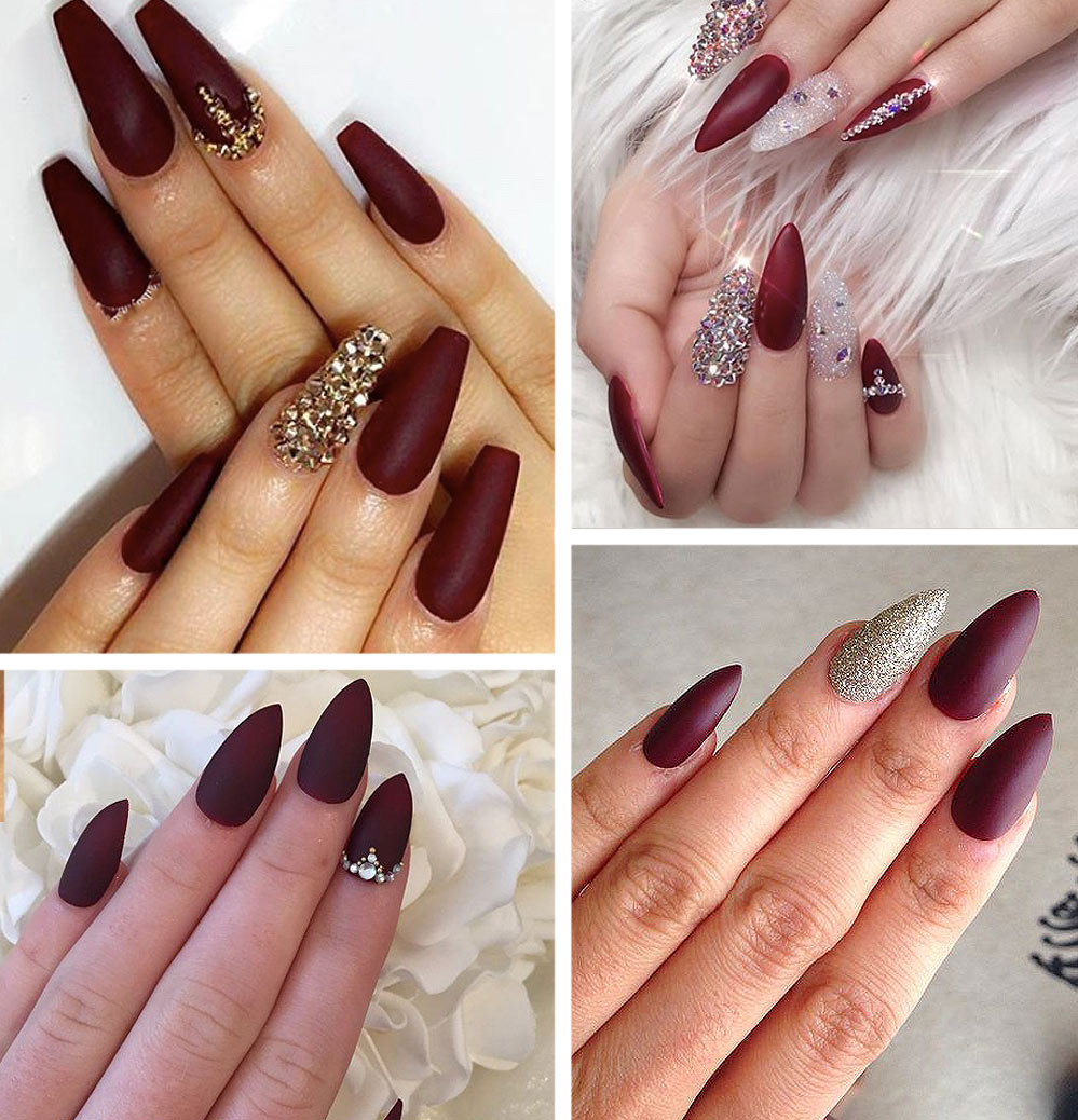 Burgundy Stiletto Nails Latest Colors Trends Nugundy Nail