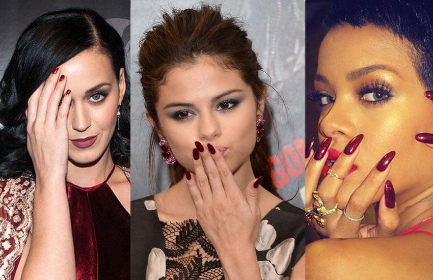 burgundy nails celebrity.-burgundy-nail-designs-selena-gomez-rihanna-lates-trendsjpg