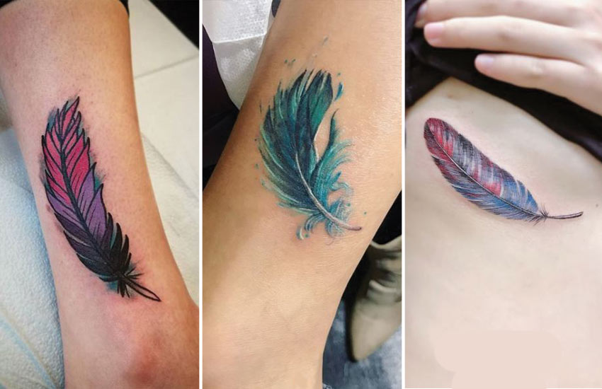 colorful-feather-tattoos-watercolor-designs-women-leg-hand-ideas