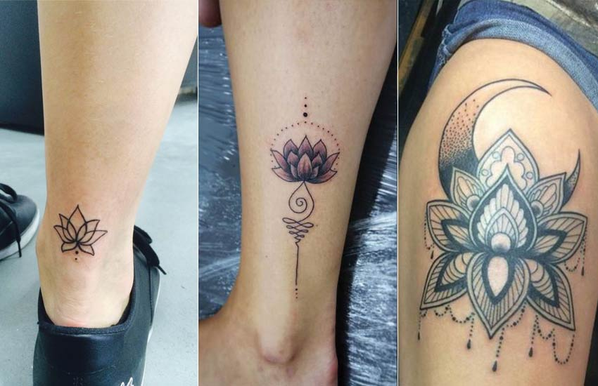 lotus-flower-tattoo-ideas (3)-leag-ankle-thigh-tattoos