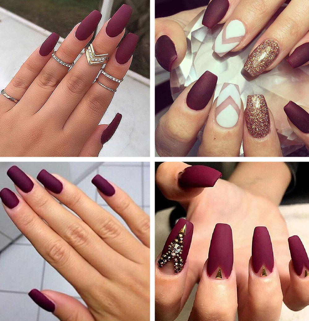 maroon-acrylic-nails-matte-finish-latest-shades-nail-paint-burgundy-nails