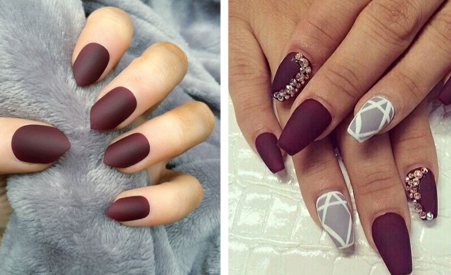 pointy-short-nails-burgundy-nails-different-shapes-ocassions-trendy-art