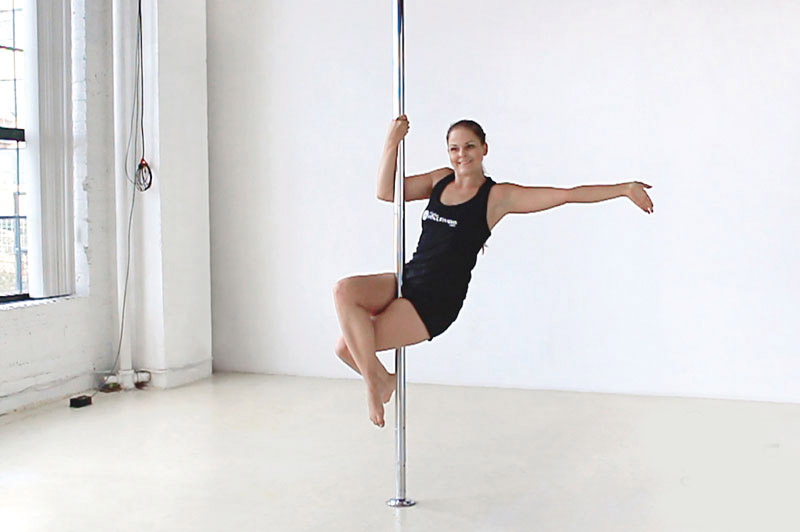 pole-fitness-basics-dance-work-out-health-benefits-beginner-level-pose-sit