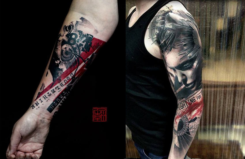 arm-tattoo-trash-polka-design-art-trend