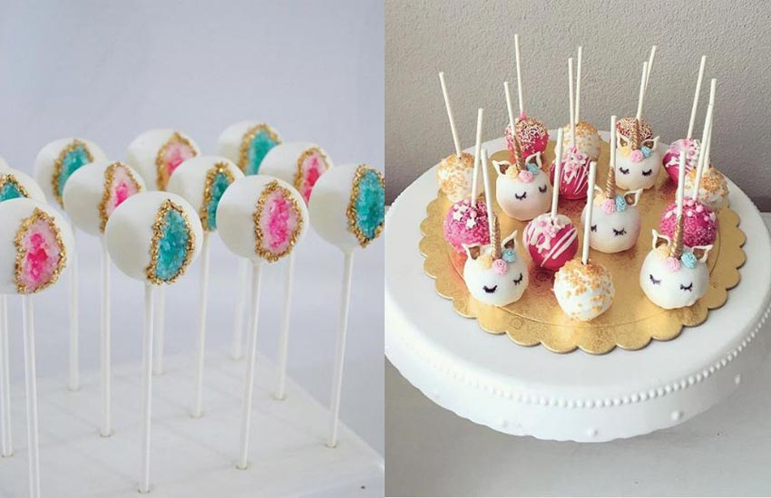 Creative Cake Pops Geode Unicorn Birthday Cakes Ideas