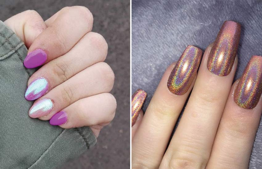 Fashion Nails Art Trends Holo Holographic Dual Toned
