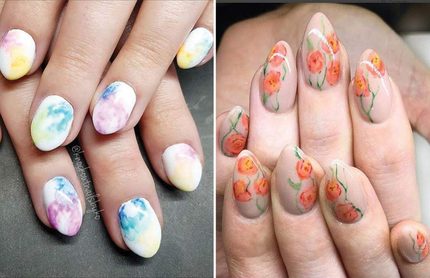 latest-nails-trends-watercolor-nail-art-floral-designs-2018