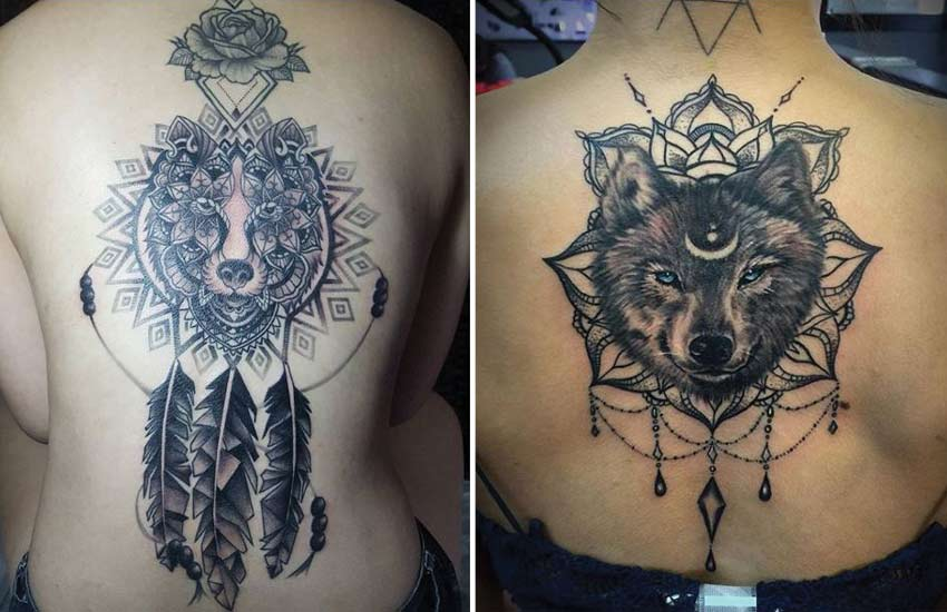mandala-wolf-tattoo-designs-ideas-chandelier-jewels-dreamcatcher-feathers-tattoos