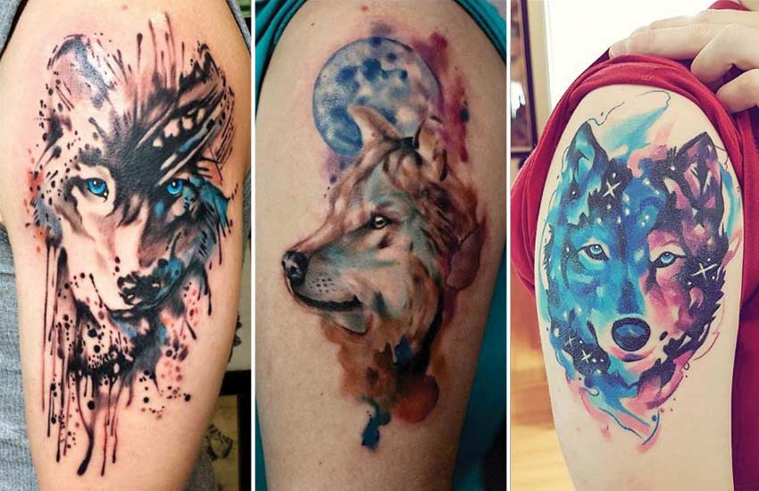 watercolor-wolf-tattoo-designs-galaxy-tattoos-ideas-trends