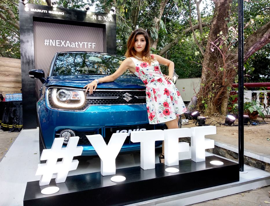 car-model-shilpa-ahuja-nexa-ignis-ytff-youtube-fan-fest-chennai-2018